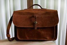 Leather bag, handmade bag from genuine leather, leather shoulder bag, Fake-M model, Ginger