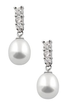 7.5-8mm Triple CZ Freshwater Pearl Drop Earrings by Gilo Creations on @HauteLook