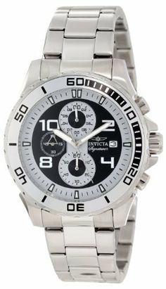 Invicta Men's 7390 Signature Chronograph Black Dial Stainless Steel Watch Invicta. $62.49. Chronograph functions with 60 second and 1/10th of a second grey subdials and 60 minute black subdials; date window at 3:00; Japanese quartz movement; Mineral crystal; stainless steel case and bracelet; Water-resistant to 50 M (165 feet); Black dial with silver tone and white hands, white Arabic numerals; luminous; unidirectional stainless steel bezel with black Arabic numera...