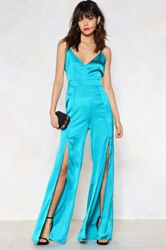 feac313c8ba Nasty Gal Split While You re Ahead Satin Jumpsuit Going Out Outfits