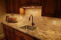 Kitchen neutral-brick-kitchen-tile-backsplash-ideas-2011-with-oak-cabinets Tile Kitchen Backsplash Ideas and Pictures Gallery