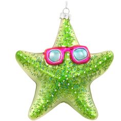 Starfish With Sunglasses Glass Ornament
