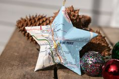 Fort Pierce, Florida - Vintage Map Covered Star Ornament - Florida, Home Decor, East Coast, 3 Dimensional, Christmas, Tree, Map Ornament by CaffeinatedSquirrel on Etsy