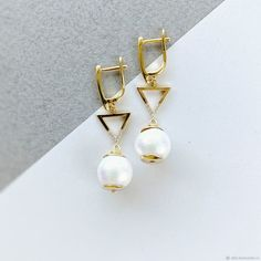 Materials: earrings, earrings, earrings, cotton pearls, pearls, cubic zirconia Size: Earrings length - 4 cm ##handmade Cubic Zirconia Earrings, Pearl Earrings, Close Up Photos, Plating, Pearls, Cotton, Handmade, Free, Style