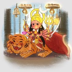 Did this Doodle of maa chandraghanta 🙏 🌟💕 I am kinda enjoying drawing this mytho series 😇 . Lord Durga, Durga Ji, Lord Shiva, Indian Gods, Indian Art, Krishna Art, Radhe Krishna, Hanuman, Cute Cartoon Characters