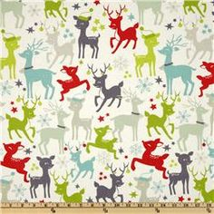 Tinsel Reinder Games Ivory- fun #christmas #fabric