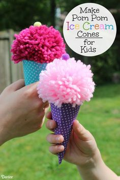 Looking for a great summer activity to promote lots of imaginary fun this summer? Make these ADORable Pom Pom Ice Cream Cones for Kids. Your kids will LOVE them.
