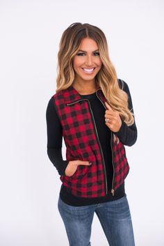 Red/Black Plaid Zip Vest - Dottie Couture Boutique