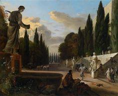 Johannes Lingelbach - Elegante partij in een park, waarschijnlijk van de Villa d'Este in Tivoli