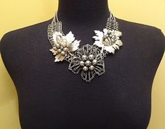 Vintage Necklace Runway Couture Necklace Signed Emmons Gray Pearls Flowers Leaves  By VintElegance.com