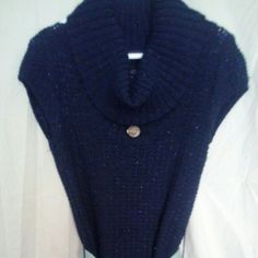 Navy blue sweater dress Navy blue sweater vest with just the right amount if sparkle!   Shiny blue flecks seen throughout the entire dress.  Short sleeves so can wear W a shirt under or without.  Any belt looks good.  Necklace not included Rue 21 Dresses