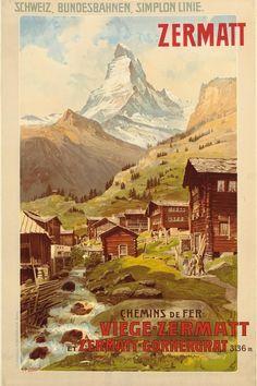 Solid-Faced Canvas Print Wall Art Print entitled Swiss Alps, Zermatt, Matterhorn, Vintage Poster, by Anton Reckziegel Zermatt, Retro Poster, Vintage Travel Posters, Vintage Canvas, Vintage Art, Anton, Swiss Travel, European Travel, Kunst Poster