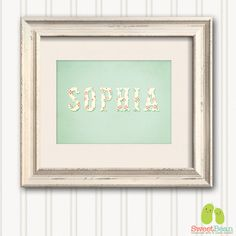 8x10 PRINT - Vintage Shabby Chic Girls Name Artwork- Children's Nursery Art - Floral