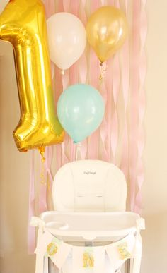 Hot Air Balloon Party   First Birthday Party   DIY   Party Decor   Highchair Banner   First Birthday www.styleyoursenses.com