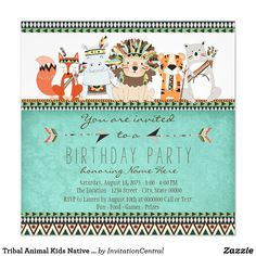 Indian Baby Shower Invitations Best Of Tribal Animal Native Indian Baby Shower Invitation Zazzle Prince Birthday Party, Safari Birthday Party, 13th Birthday, Kids Birthday Party Invitations, Printable Baby Shower Invitations, Invitation Ideas, Indian Birthday Parties, Indian Baby Showers, Tribal Baby Shower