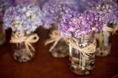 mason jars with purple flowers