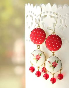 Dangle Earrings - Triple Red - Red Polka Dots and Little Flowers on White Romantic Fabric Covered Buttons Earrings with Czech Glass Beads