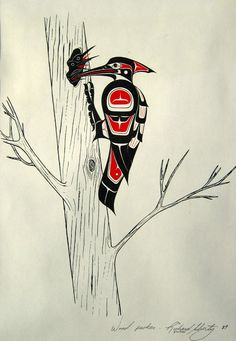 Woodpecker by Richard Shorty. Arte Tribal, Tribal Art, Canadian Art, Native Canadian, Tatouage Haida, Native American Symbols, Native American Artwork, Native Tattoos, Haida Art