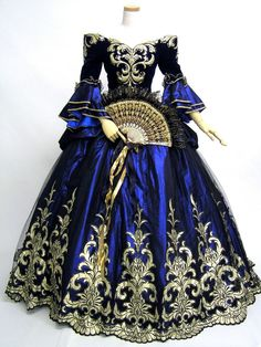 royal blue and gold gown