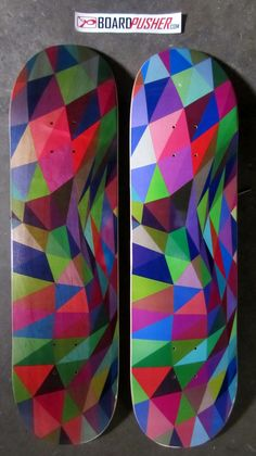 "Today's Featured Decks are a couple of pieces from Tyson Atwell's ""Prismatic Waves"" series and show the juxtaposition of a natural background vs. a full color background. See more of Tyson's work including the rest of this series at www.tysonatwell.com. skate skateboard skateboards skateboarding sk8 www.BoardPusher.com"