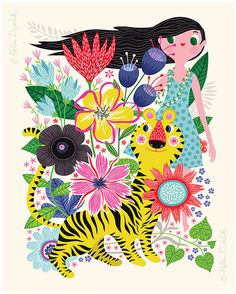 Tiger Dream... limited edition giclee print of an by helendardik