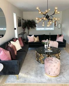 30 Incredibly Charming Pink Living Room Design Ideas - Home Bigger Living Room Decor Furniture, Glam Living Room, Cozy Living Rooms, Living Room Modern, Apartment Living, Living Room Designs, Retro Furniture, Small Living, Black Furniture