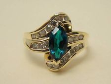 10K YELLOW GOLD MARQUISE CREATED EMERALD RING DIAMOND ACCENT .40 CT TW SIZE 10