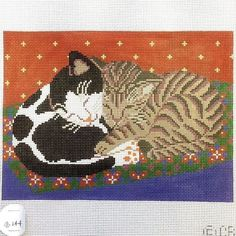 Handpainted Needlepoint canvas Napping Kittens Cats now ON SALE #Creurs