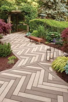 Walkway designs are a way for you to make a first and lasting impression. Check out our blog for ideas! Outdoor Walkway, Stone Walkway, Outside Patio, Concrete Paving Slabs, Patio Slabs, Backyard Patio Designs, Backyard Landscaping, Walkway Designs, Sloped Backyard