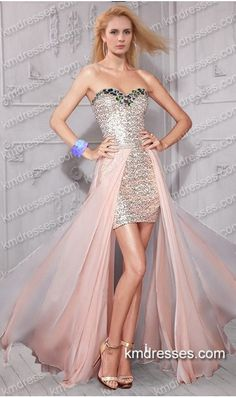 http://www.ikmdresses.com/amazing-beaded-strapless-sweetheart-sequined-high-low-dress-p59408 mazing beaded strapless sweetheart sequined high low dress Pink Dresses
