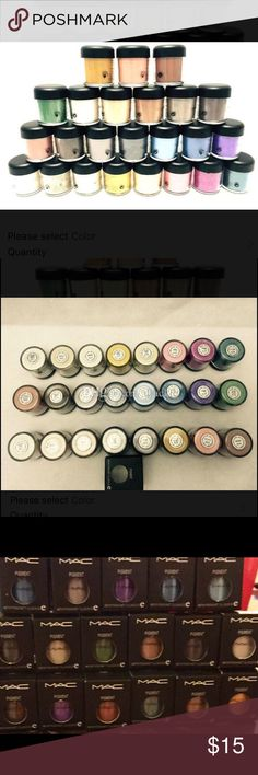 MAC Eyeshadow Pigments Mac eyeshadow pigment jars (7.5g). I have 24 of them and you can choose your color or colors and let me know in the comments section. There are two of some colors. Colors include: grape (2), chocolate brown (2), Print (2), Rose, melon (2), golden lemon, steamy, amber lights, old gold (2), aqua blue, cornflower (2), silver ring, night train (2), sassy grass, twinks (2), and blanc type LISTED PRICE IS FOR ONE ITEM. MAC Cosmetics Makeup Eyeshadow