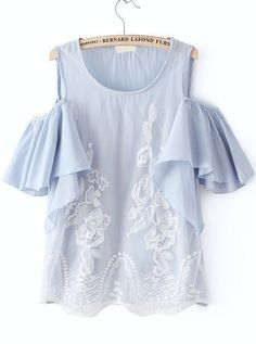 Blue Off the Shoulder Ruffle Lace Blouse 17.00