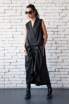 NEW Black Maxi Dress/Asymmetric SLeeveless by Metamorphoza on Etsy