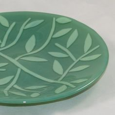 Fused Glass Green Bowl of Leaves by MargieMcNutt on Etsy, $80.00