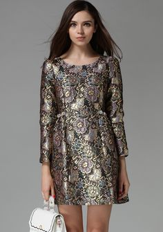 Gold Silver Long Sleeve Embroidered Flare Dress