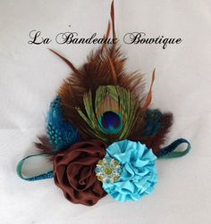 Peacock Headband Couture Headband Photo Prop by LaBandeauxBowtique, $15.00