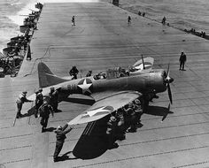 U.S. Navy Douglas SBD-3 Dauntless of bombing squadron VB-8 on deck of the aircraft carrier USS Hornet during Battle of Midway, 4 June 1942.