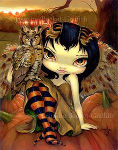 Owlyn in Autumn pumpkin owl fairy art print by by strangeling, $13.99