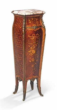 A FRENCH ORMOLU-MOUNTED KINGWOOD, AMARANTH, MARQUETRY AND PARQUETRY PEDESTAL -  BY FRANÇOIS LINKE, INDEX NUMBER 126, PARIS, LATE 19TH/EARLY 20TH CENTURY.