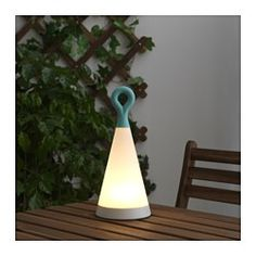 SOLVINDEN LED solar-powered table lamp, triangle, blue white - 30 cm - IKEA