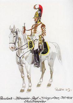 """Trompette du régiment de cuirassiers """"Ordres militaires"""" - 1805 - par Knötel"""