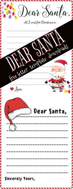 Dear Santa Letter FREE PRINTABLE | Free Download Template to write santa a letter, new for 2017 #christmas  #christmasgifts #dearsanta #santa #printables