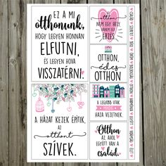 NőiCsizma | Otthon, édes otthon- kártyák Family Birthdays, Scrapbook, Cool Things To Make, Things To Sell, Home Signs, Dream Decor, Filofax, Diy Crafts To Sell, Holidays And Events