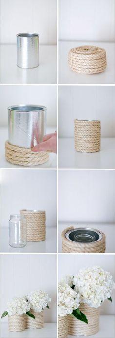 Centre de table avec vases en boites de café recouvertes de corde. 15 idées de sublimes centres de table à faire soi-même