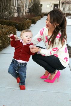 Kiss Me Darling: Kiss me, Darling Valentines outfit, lips sweater, pink heels, mommy son, valentines day