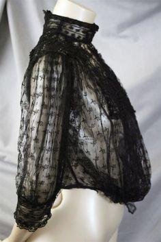 c1901  BLACK CHANTILLY & BOBBIN LACE EDWARDIAN BLOUSE HIGH COLLAR BODICE. Sideway