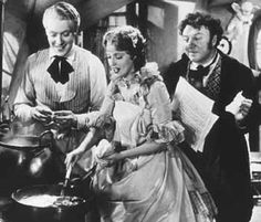 Jeanette MacDonald cooking cooking Virginia ham and eggs for Nelson Eddy and Herman Bing, from Maytime.