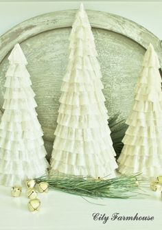 Recycled Christmas Projects 3 & 4- Coffee Fliter Trees and Rustic Advent Calendar - City Farmhouse