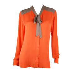 Mason Orange Washed Silk Dual Tone Blouse ($308) ❤ liked on Polyvore featuring tops, blouses, shirts, blusas, collared blouse, orange long sleeve shirt, long sleeve collared shirts, tie blouse and long sleeve shirts