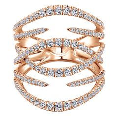 14k Pink Gold Diamond Fashion Ladies' Ring | Gabriel & Co NY | LR51003K45JJ